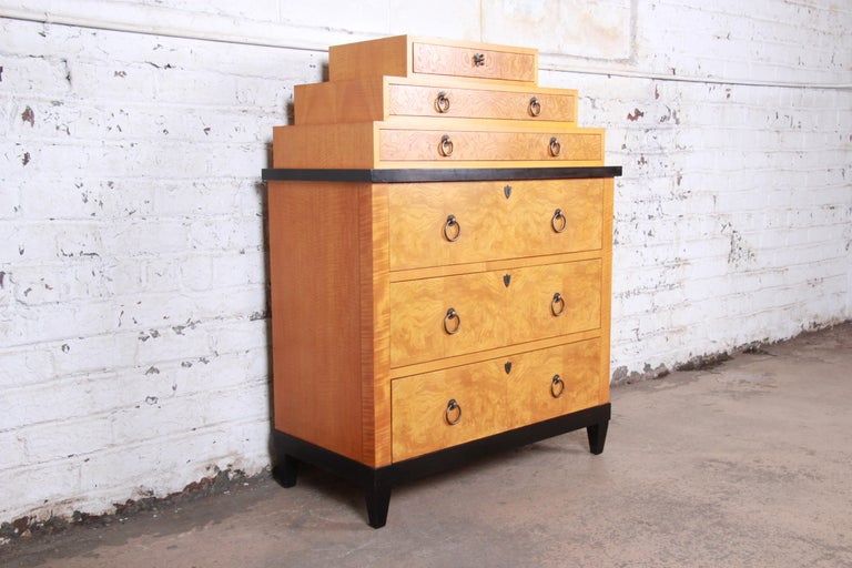 American Baker Furniture Biedermeier Burl Wood and Primavera Highboy Chest of Drawers For Sale