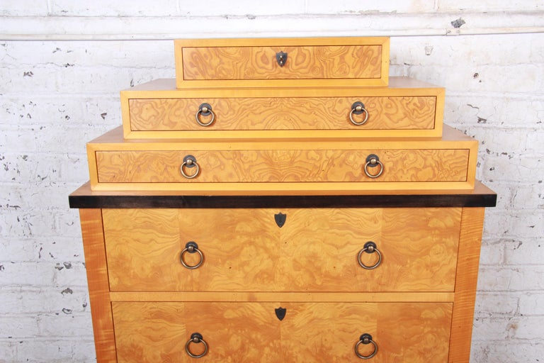 Baker Furniture Biedermeier Burl Wood and Primavera Highboy Chest of Drawers In Good Condition For Sale In South Bend, IN