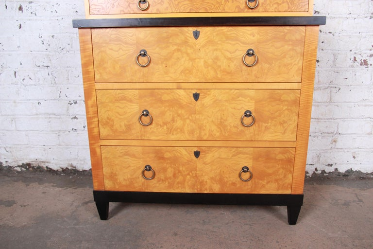 20th Century Baker Furniture Biedermeier Burl Wood and Primavera Highboy Chest of Drawers For Sale