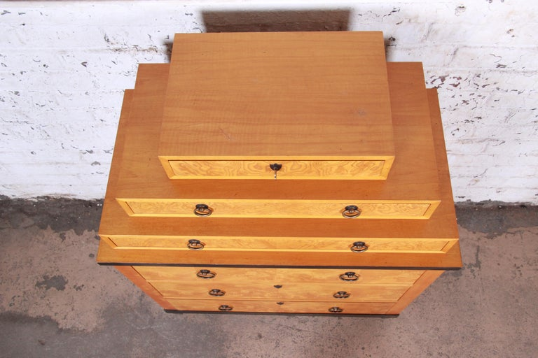 Brass Baker Furniture Biedermeier Burl Wood and Primavera Highboy Chest of Drawers For Sale
