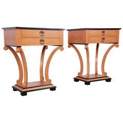 Baker Furniture Biedermeier Style Primavera Nightstands, Newly Restored