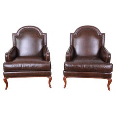 Baker Furniture Brown Leather Lounge Chairs, Pair