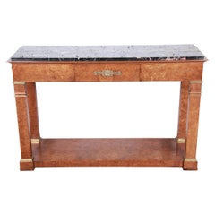 Baker Furniture Burl Wood and Italian Marble Neoclassical Console Table