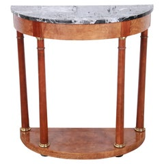 Baker Furniture Burl Wood and Italian Marble Neoclassical Demilune Console Table