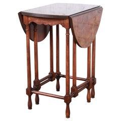 Baker Furniture Burled Walnut Gate Leg Drop Leaf Side Table