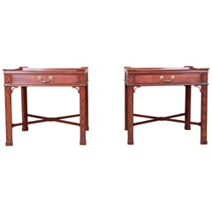Baker Furniture Carved Mahogany Chippendale Nightstands or End Tables, Pair