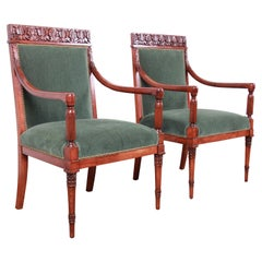 Baker Furniture Carved Walnut and Velvet Upholstered Lounge Chairs, Pair