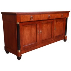 Baker Furniture Cherrywood Neoclassical Sideboard or Bar Cabinet, Restored
