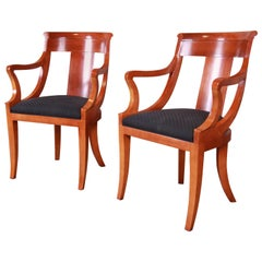 Baker Furniture Cherrywood Regency Armchairs, Pair