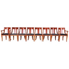 Baker Furniture Cherrywood Regency Dining Chairs, Set of Eight