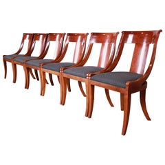 Baker Furniture Cherrywood Regency Dining Chairs, Set of Six