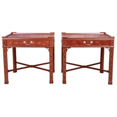 Baker Furniture Chinese Chippendale Carved Mahogany Nightstands, Refinished