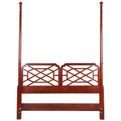 Baker Furniture Chinese Chippendale Mahogany Queen Size Headboard, circa 1970s