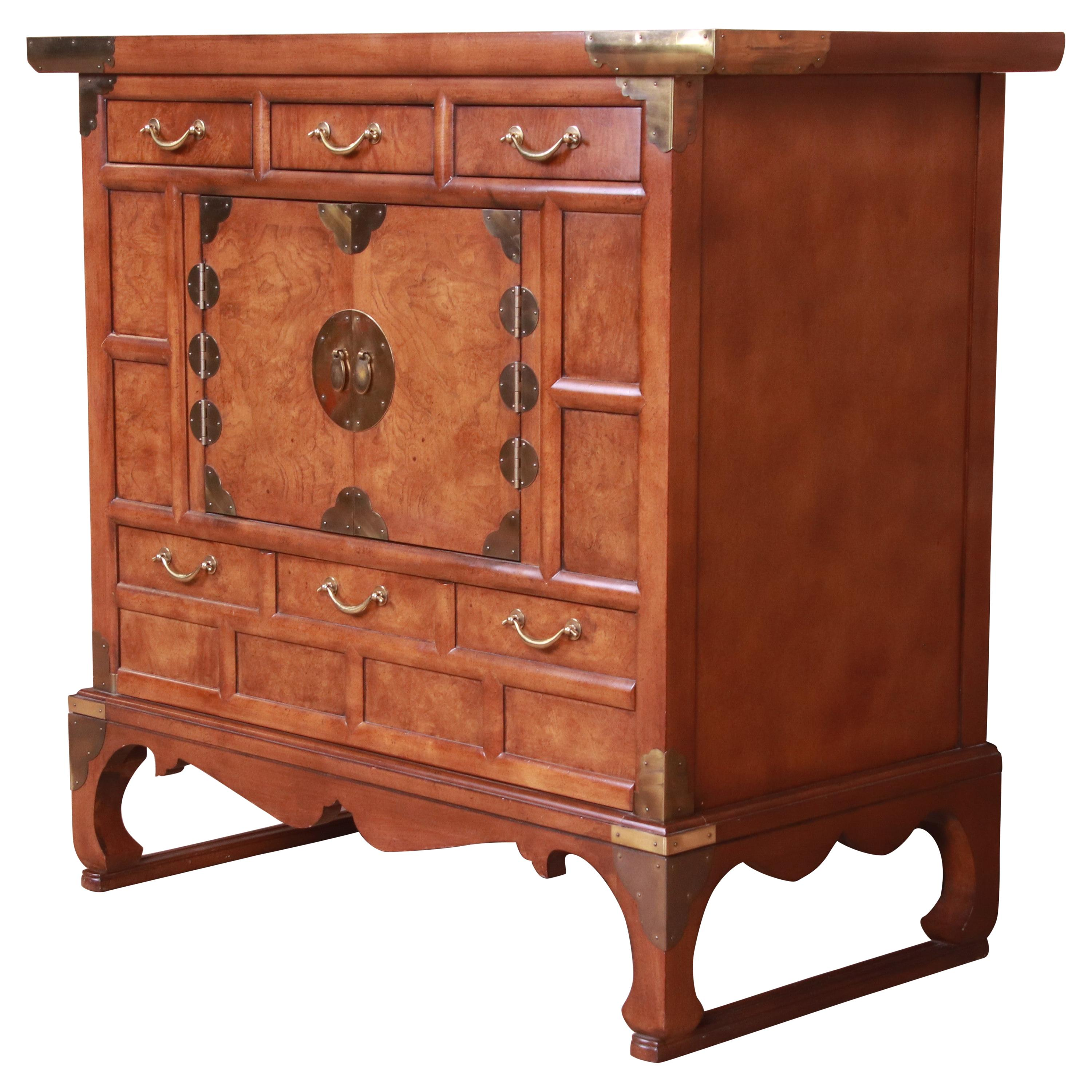 Baker Furniture Chinoiserie Burl Wood Commode or Bar Cabinet, Circa 1960s