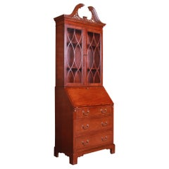 Baker Furniture Chippendale Banded Mahogany Secretary Desk with Bookcase Hutch