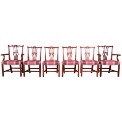 Baker Furniture Chippendale Carved Mahogany Dining Chairs, Set of Six