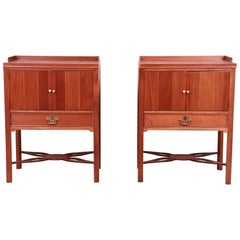 Baker Furniture Chippendale Carved Mahogany Nightstands, Newly Refinished