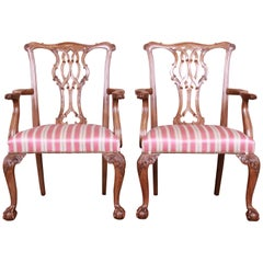 Baker Furniture Chippendale Carved Walnut Armchairs, Pair