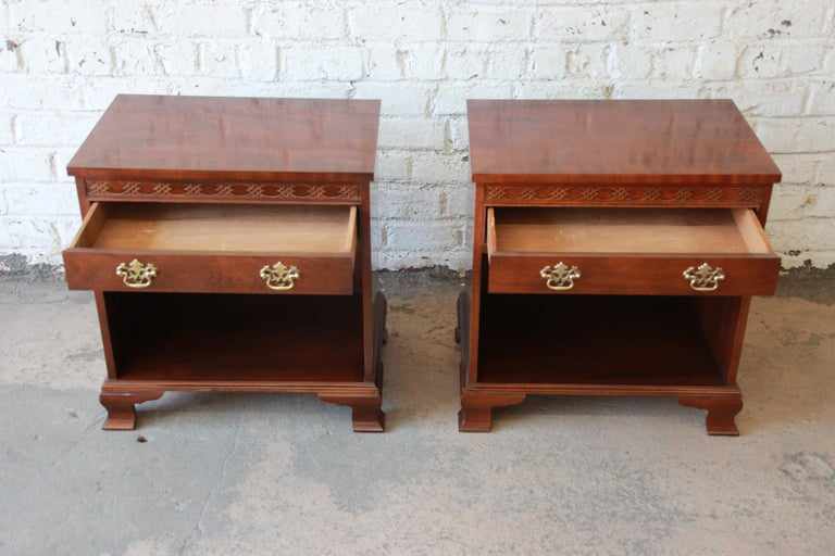 Baker Furniture Chippendale Style Mahogany Nightstands