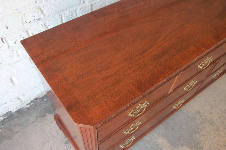 Baker Furniture Chippendale Style Mahogany Seven-Drawer Long Dresser For Sale 6