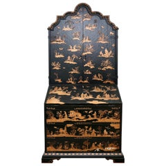 Baker Furniture Company Black Japanned Chinoiserie Venetian Secretary Desk, Gilt