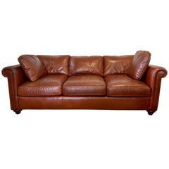 Baker Furniture Company Large Saddle Brown Leather Three-Seat Sofa
