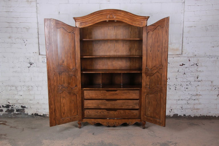 Baker Furniture Country French Louis XV Style Oak Armoire ...