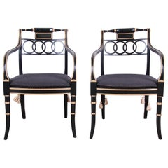 Baker Furniture Ebonized and Gold Gilt Regency Style Armchairs, Pair