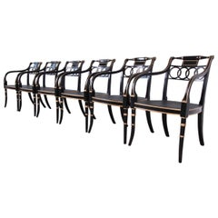 Baker Furniture Ebonized and Gold Gilt Regency Style Armchairs, Set of Six