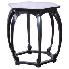 Baker Furniture Ebonized Hollywood Regency Chinoiserie Occasional Table