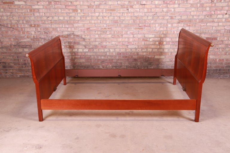 Baker Furniture Empire Cherry Wood Queen Size Sleigh Bed 6