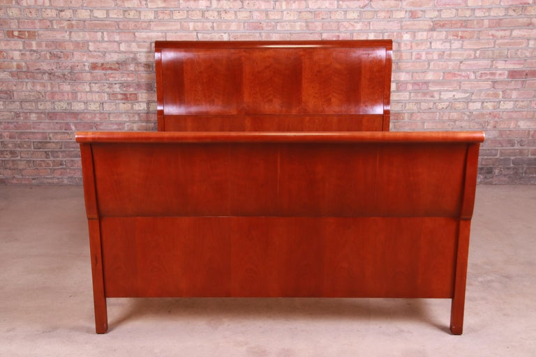 American Baker Furniture Empire Cherry Wood Queen Size Sleigh Bed