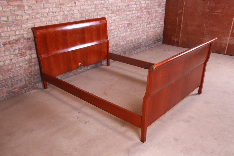 20th Century Baker Furniture Empire Cherry Wood Queen Size Sleigh Bed