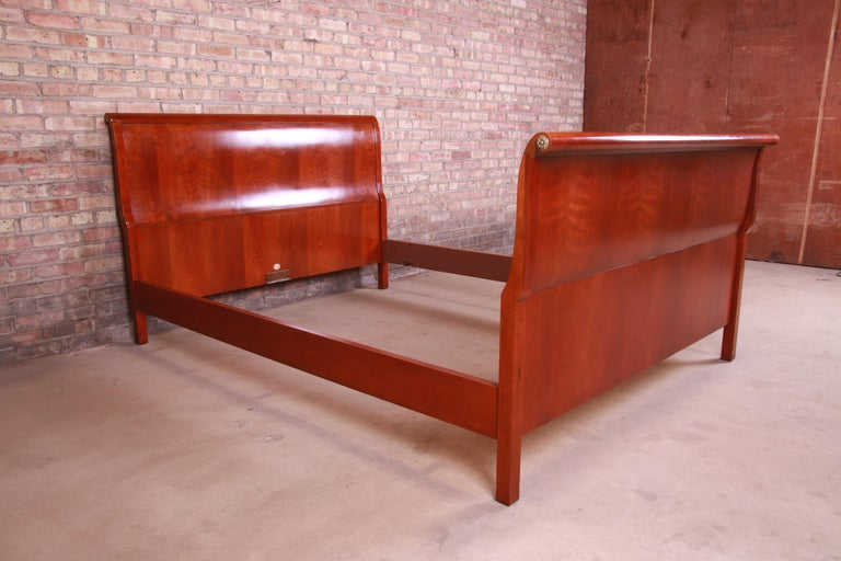 Baker Furniture Empire Cherry Wood Queen Size Sleigh Bed 1
