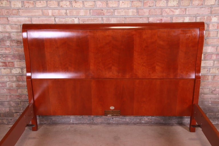 Baker Furniture Empire Cherry Wood Queen Size Sleigh Bed 3