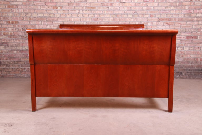Baker Furniture Empire Cherry Wood Queen Size Sleigh Bed 4