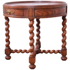 Baker Furniture English Barley Twist Oak and Burl Wood Tea Table