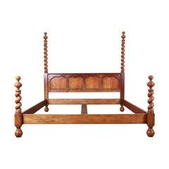 Baker Furniture English Barley Twist Oak King Size Poster Bed