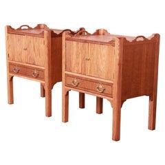 Baker Furniture English Georgian Oak Nightstands, Newly Refinished