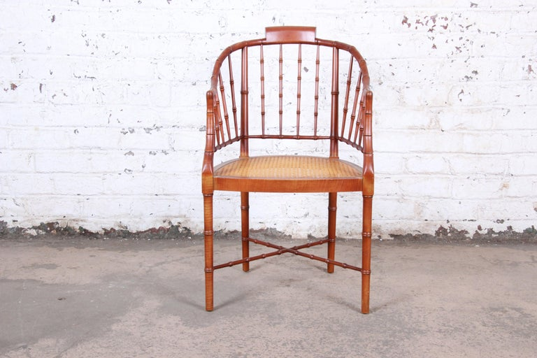 A gorgeous faux bamboo Regency armchair