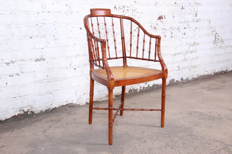 American Baker Furniture Faux Bamboo and Cane Regency Armchair, 1960s For Sale