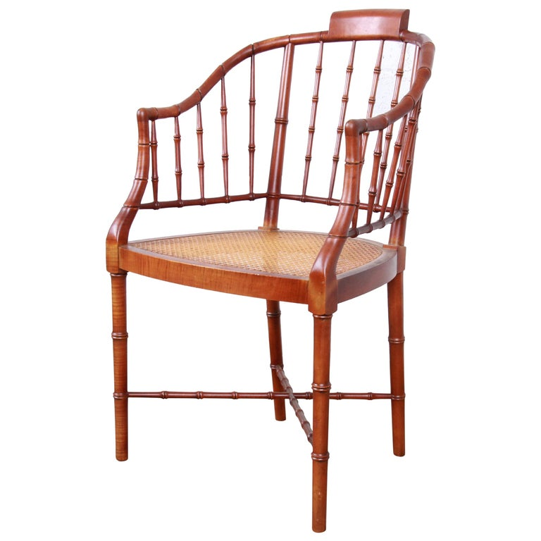 Baker Furniture Faux Bamboo and Cane Regency Armchair, 1960s For Sale