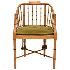 Baker Furniture Faux Bamboo and Cane Regency Armchair