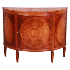 Baker Furniture Federal Inlaid Mahogany Demilune Cabinet or Sideboard