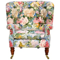 Baker Furniture Floral Tufted Wingback Chair on Brass Casters
