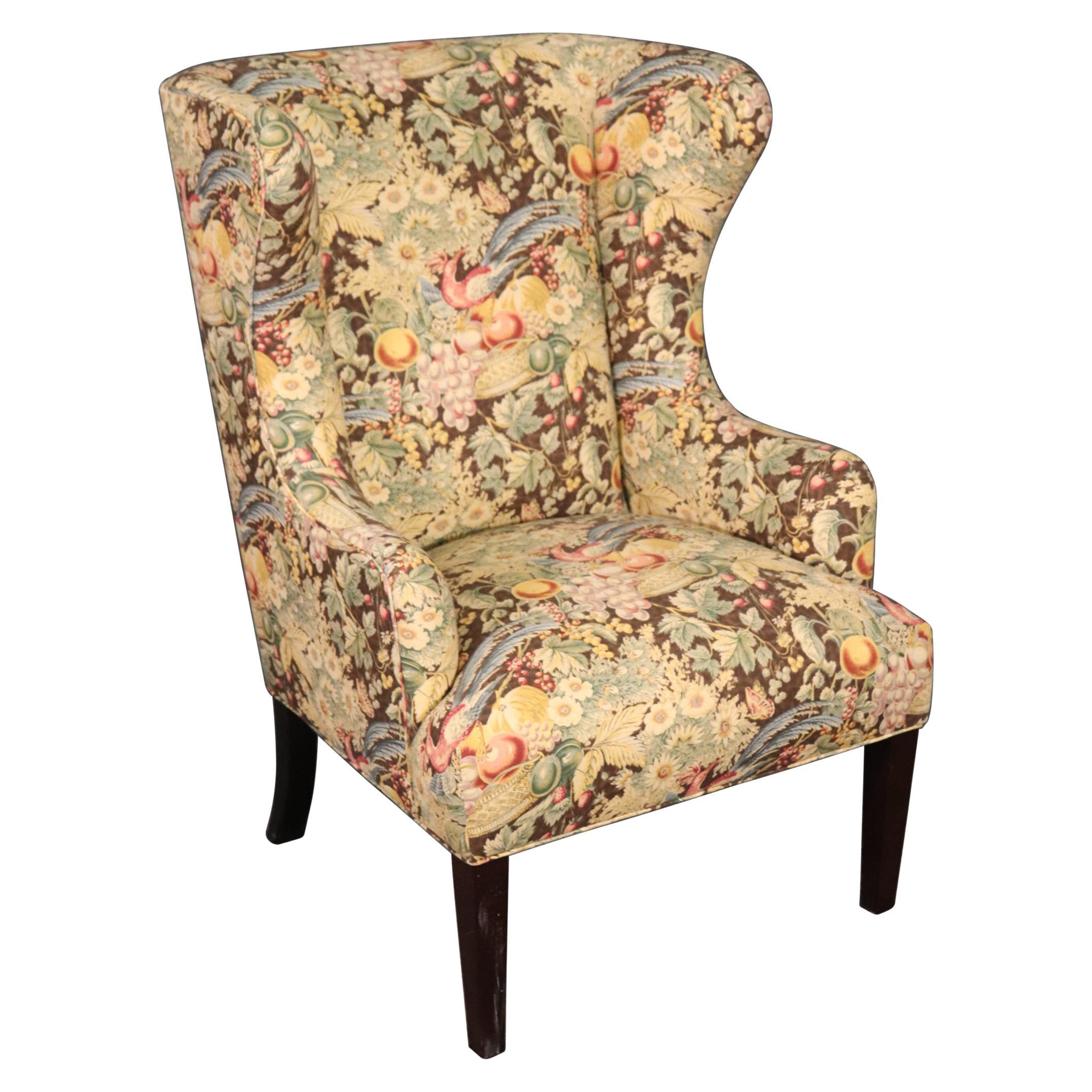 Baker Furniture Floral Upholstered Wingback or Fireside Chair