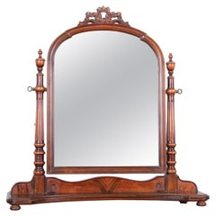 Baker Furniture French Carved Mahogany Dresser Top Swing Mirror, circa 1950s