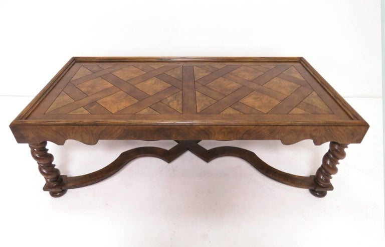 Baker Furniture French Country Coffee Table With Parquetry