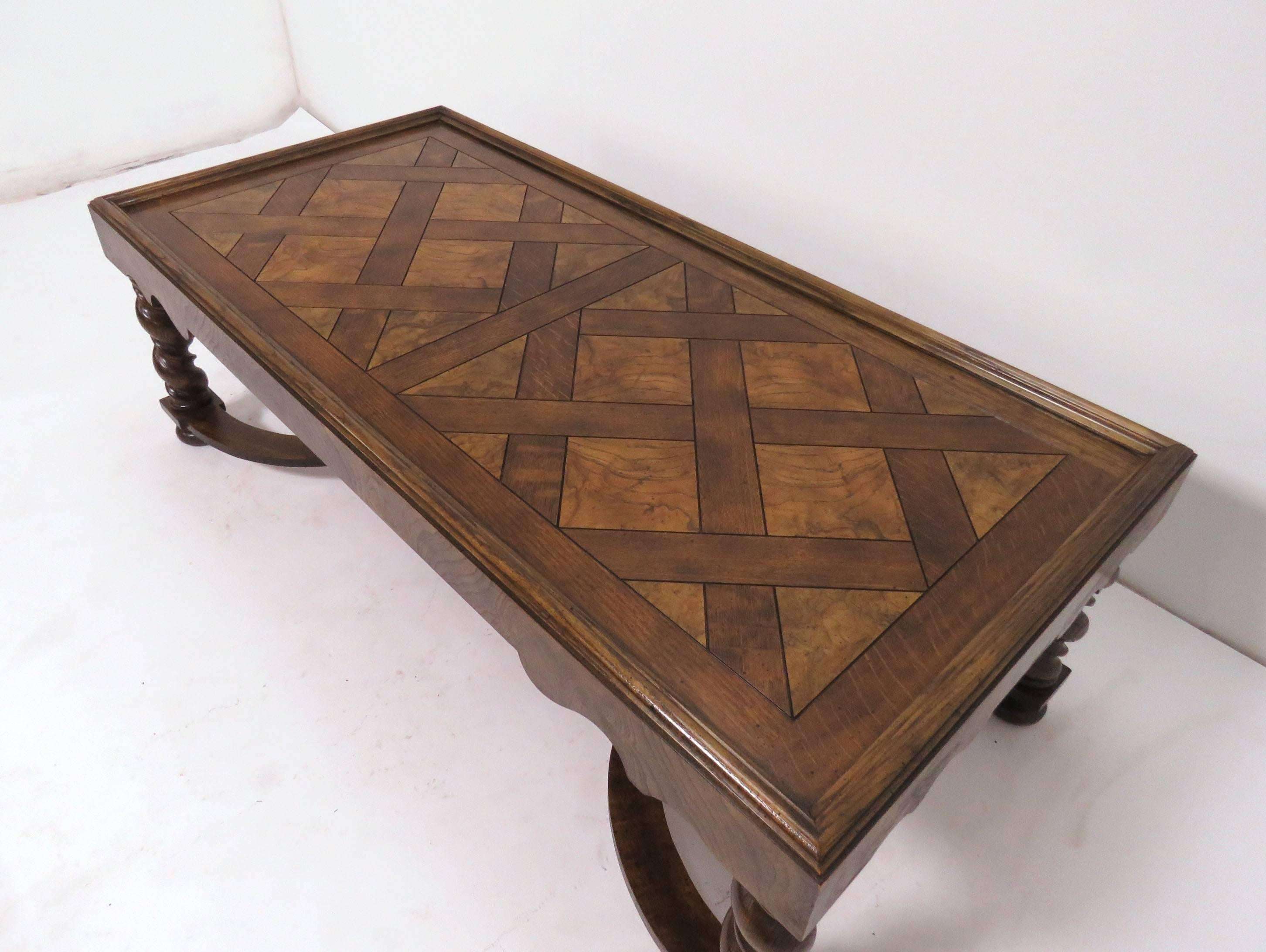 Baker Furniture French Country Coffee Table with Parquetry Top and