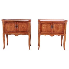 Baker Furniture French Country Fruitwood Nightstands, Pair